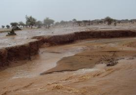 Water run-off on degraded soil and gully erosion due to flooding, in the Mélé Haoussa basin in Niger